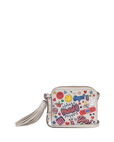 Allover Wink Sticker Crossbody Bag, Multi