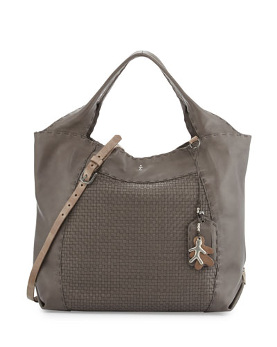 Beverly Woven Double-Handle Tote Bag, Gray