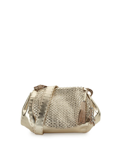 Molly Small Woven Messenger Bag, Gold
