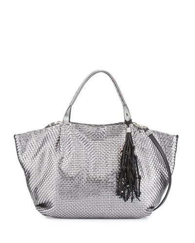 Jola Woven Double-Handle Satchel Bag, Gunmetal