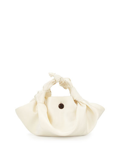 The Ascot Satin Small Hobo Bag, White