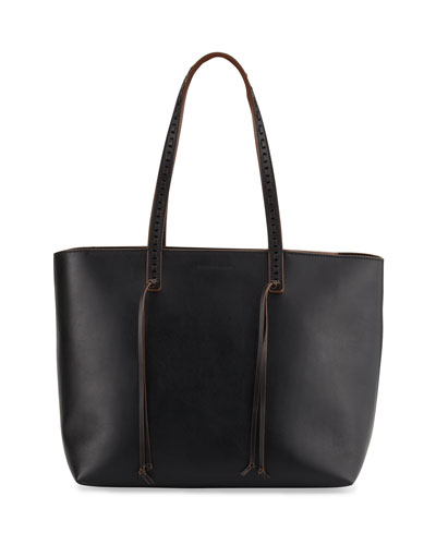 Milky Medium Leather Tote Bag, Black