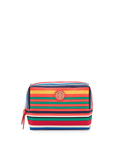 Brigitte Striped Nylon Cosmetic Bag, Multicolor