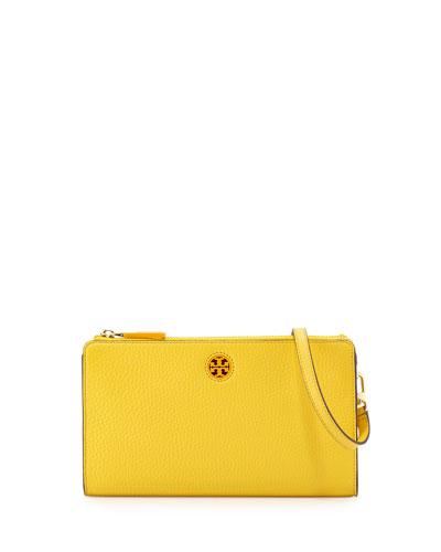 Robinson Pebbled Leather Crossbody Wallet, Yellow