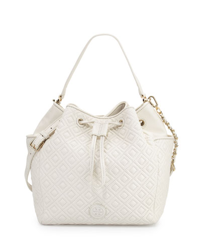 Marion Quilted Leather Bucket Bag, Ivory