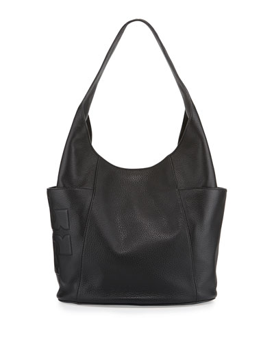 Bombé-T Leather Hobo Bag, Black