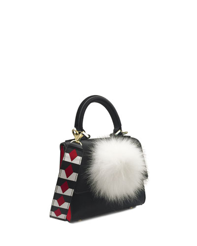 Micro Alex Woven Bunny Bag, Black Multi