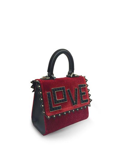Micro Alex Black Widow Velvet Frame Bag, Red/Black