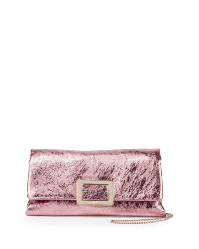 Ines Metallic Small Pochette Bag, Pink