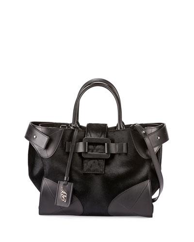 Pilgrim De Jour Medium Calf-Hair Tote Bag, Black