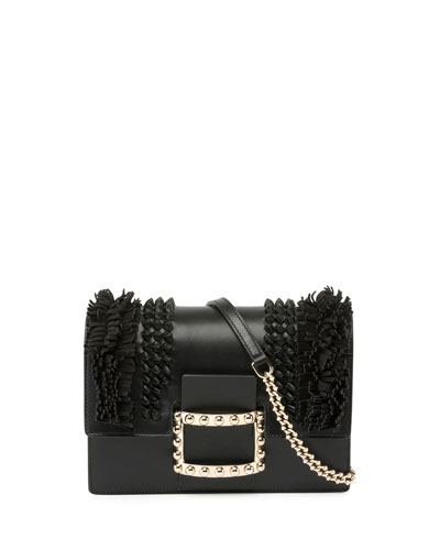 Viv' Micro Knots/Fringes Shoulder Bag, Black
