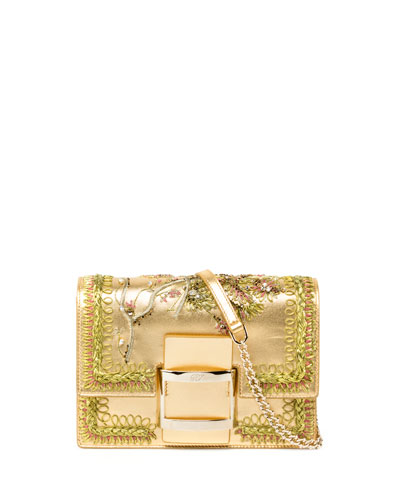 Miss Viv Floral Metallic Leather Micro Shoulder Bag, Gold