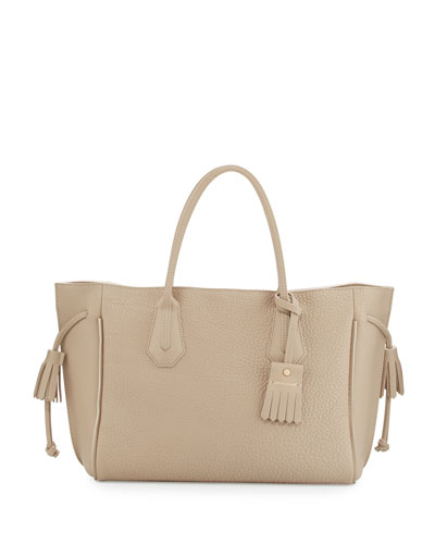 Penelope Leather Tote Bag, Greige