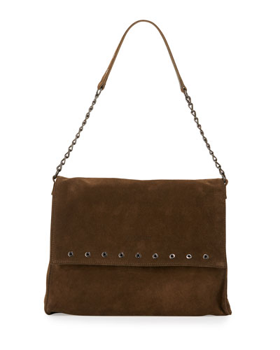 Paris Rocks Suede Shoulder Bag, Khaki