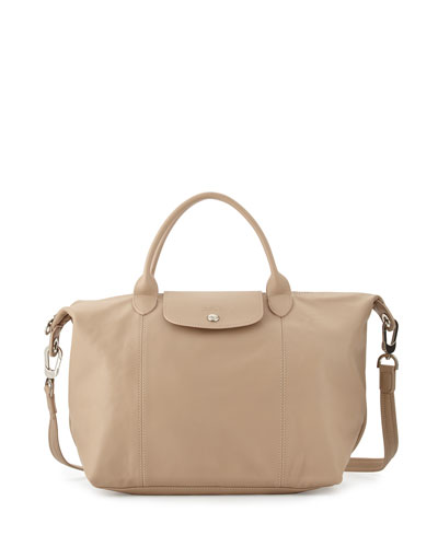 Le Pliage Cuir Handbag with Strap, Greige