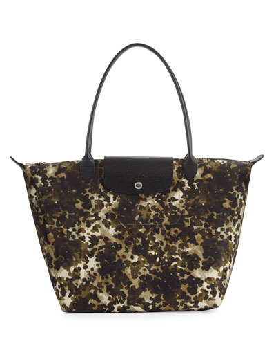 Le Pliage Néo Fantaisie Large Printed Tote Bag, Khaki