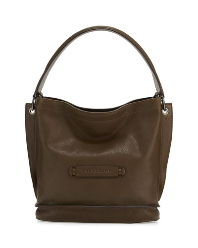 Longchamp 3D Leather Crossbody Bag, Khaki