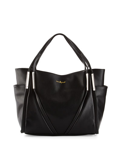 Envy Faux-Leather Tote Bag, Black