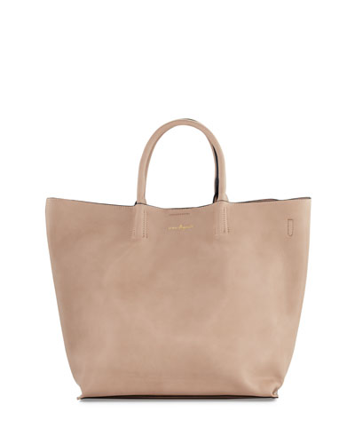 Butterfly Faux-Leather Tote Bag, Nude