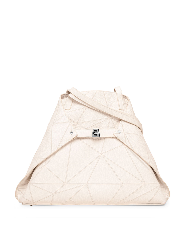Ai Medium Naoshima-Embroidered Shoulder Bag, White
