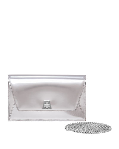 Anouk Leather Envelope Clutch Bag, Silver Metallic