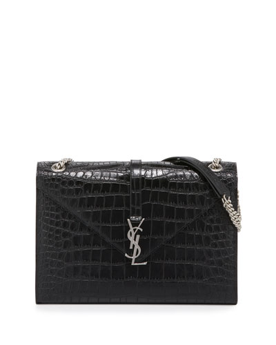 Monogram Crocodile-Embossed Envelope Chain Shoulder Bag, Black