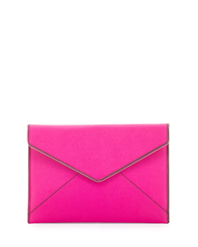 Leo Saffiano Envelope Clutch Bag, Flamingo