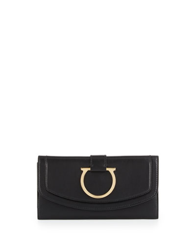 Gancio Leather Saddle Wallet, Nero
