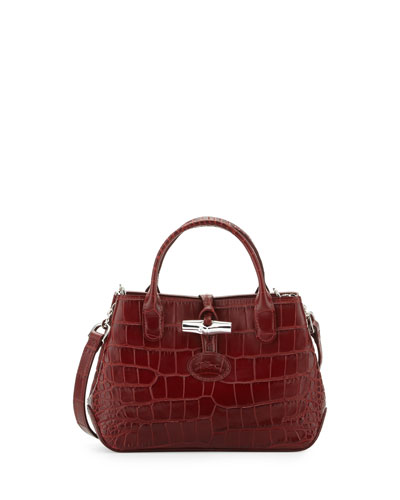 Roseau Crocodile-Embossed Mini Crossbody Bag, Mahogany
