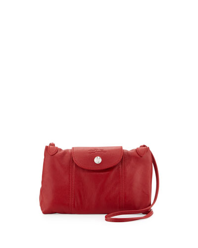 Le Pliage Cuir Small Crossbody Bag, Cherry