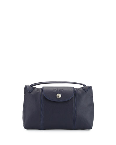 Le Pliage Cuir Small Crossbody Bag, Navy