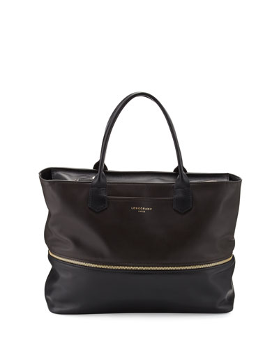 Longchamp 2.0 Expandable Tote Bag, Mocha/Black