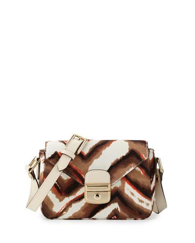 Le Pliage Heritage Luxe Small Calf-Hair Crossbody Bag, Camel