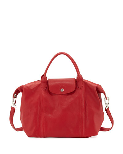 Le Pliage Cuir Handbag with Strap, Cherry