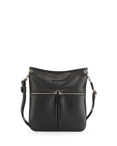 Le Foulonné Flat Crossbody Bag, Black