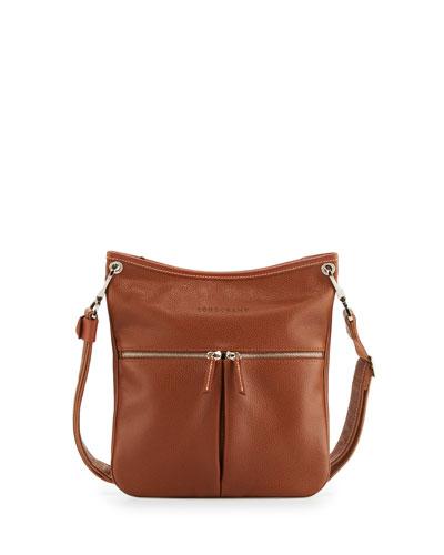 Le Foulonné Flat Crossbody Bag, Cognac