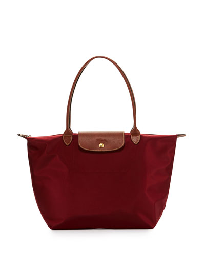 Le Pliage Large Shoulder Tote Bag, Garnet
