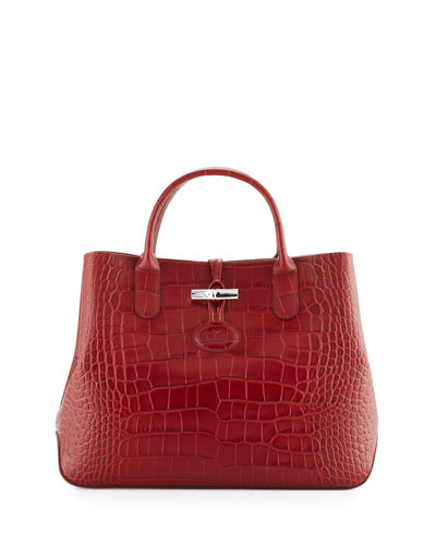 Roseau Croco Small Tote Bag, Mahogany