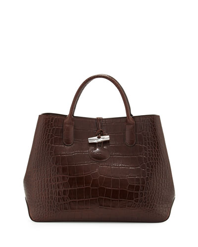 Roseau Croco Small Tote Bag, Brown