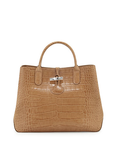 Roseau Croco Small Tote Bag, Greige