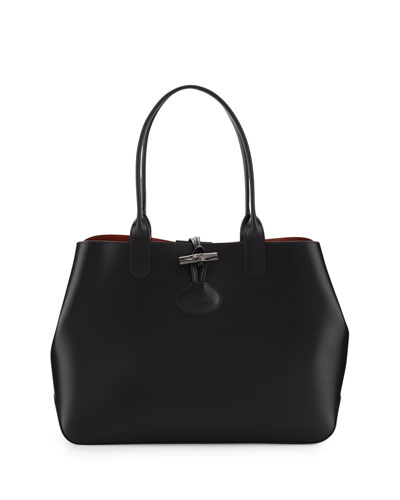 Roseau Reversible Leather Tote Bag, Black/Brick