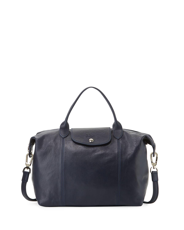 Le Pliage Cuir Handbag with Strap, Navy
