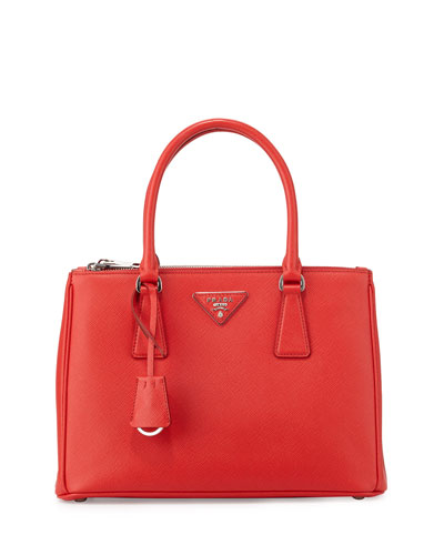 Saffiano Small Double-Zip Tote Bag, Red (Rosso)