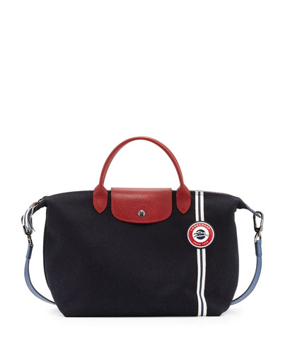 Le Pliage Cocarde Medium Handbag with Strap, Navy