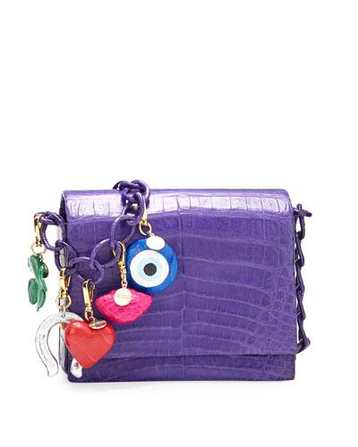 Gio Crocodile Charm Crossbody Bag, Purple