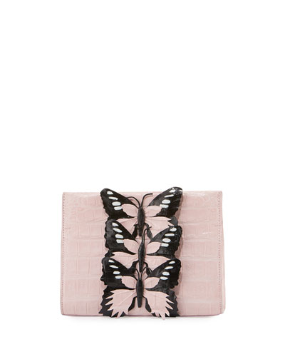 Butterfly Crocodile Small Clutch Bag, Blush/Black