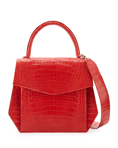 Crocodile Large Structured Top-Handle Bag, Red Matte