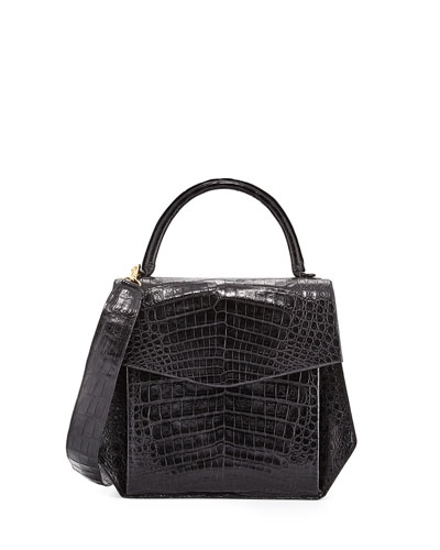 Crocodile Large Structured Top-Handle Bag, Black Matte