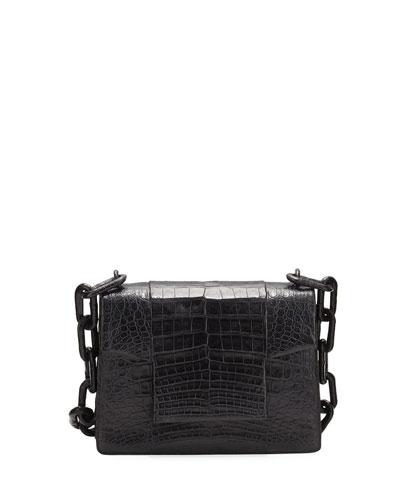 Crocodile Small Chain-Strap Shoulder Bag, Black Matte