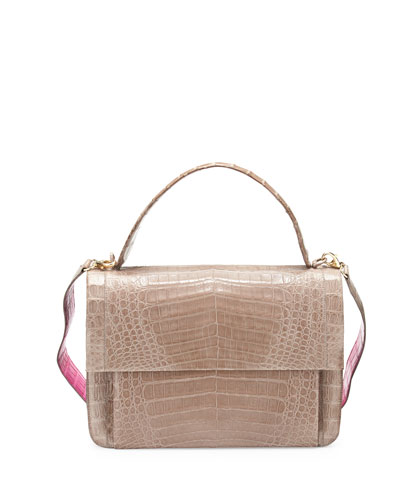 Crocodile Guitar-Strap Top-Handle Bag, Taupe/Pink